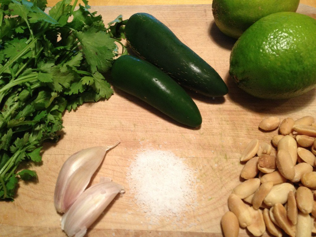 Ingredients for Cilantro Pesto sauce
