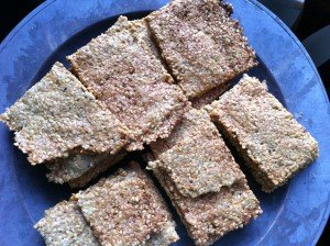 Plate of possibly paleo,  definitely delicious crackers